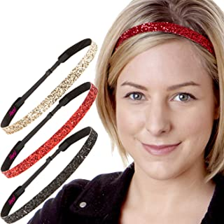 Hipsy Women's Adjustable NO SLIP Bling Glitter Headband Mixed Pack (Black/Red/Gold)