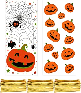 Boao 200 Pieces Clear Cellophane Bags Halloween Christmas Candy Cookies Treat Bags with 300 Pieces Twist Ties for Theme Party Supplies (Style 4)