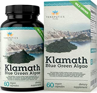 Premium Klamath Blue Green Algae - More Powerful Than Spirulina and Chlorella Supplements | Pure Chlorophyll Rich SuperFood, Sourced from Organic Klamath Lake, 500mg, 60 Vegan Capsules