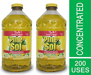 Pine Sol Concentrated Multi-Surface Cleaner and Deodorizer, Lemon Fresh Scent, 2 Count, 200 ounces Total