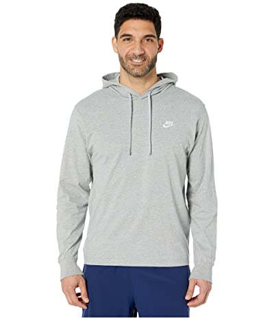 Nike NSW Club Hoodie Pullover Jersey (Dark Grey Heather/White) Men