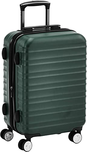 Amazon Basics - Maleta rígida giratoria prémium de 55 cm, verde