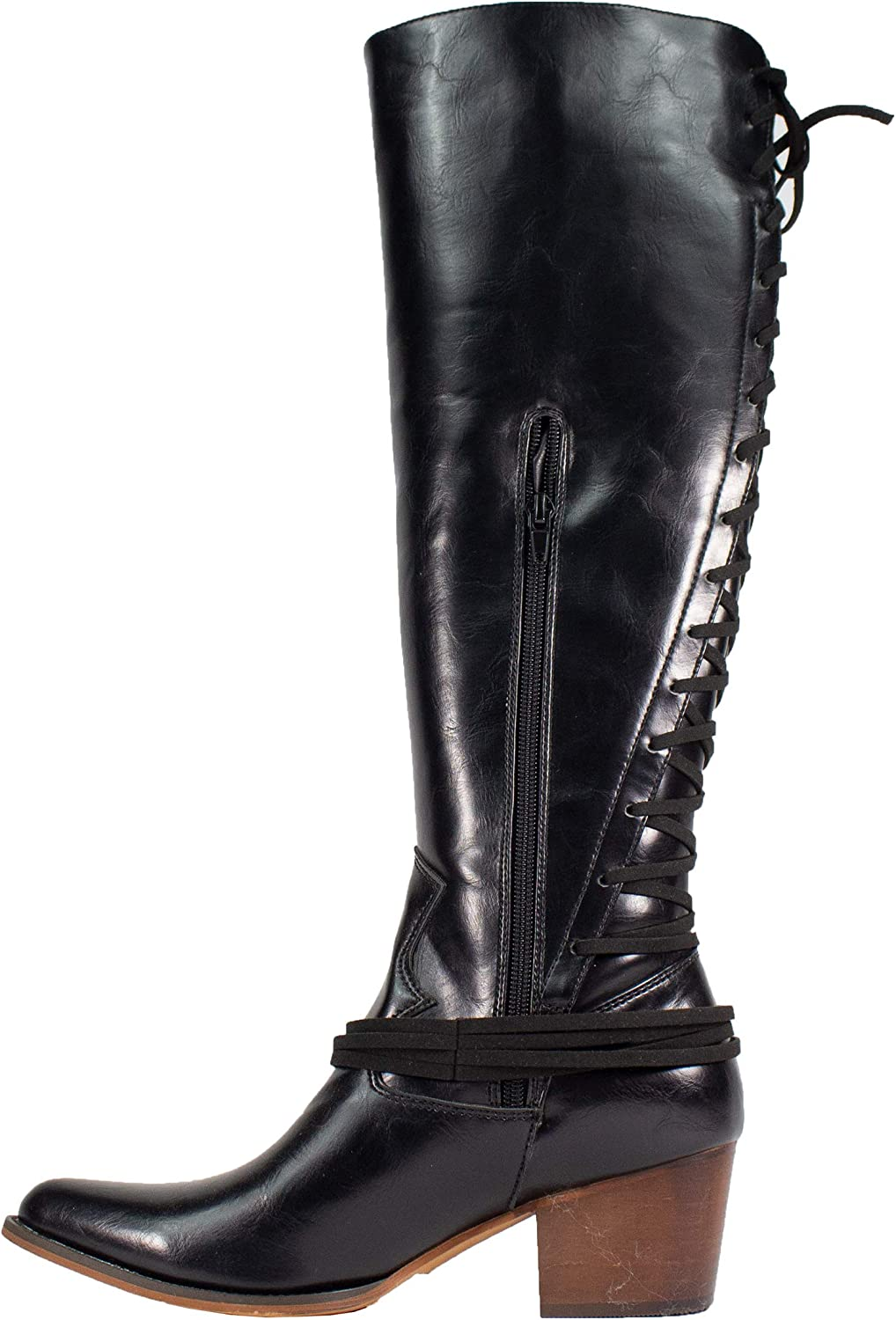 ARIDERGIRL Haley Whiskey Knee-High Pointed Toe Lace Up Back Inside Zipper Western Boot