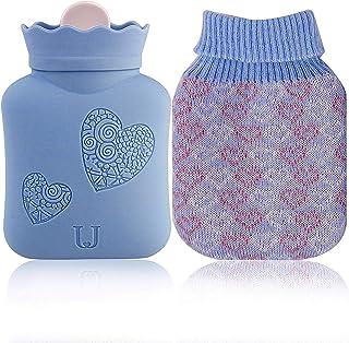 بطری های گرمایش مایکروویو سیلیکون محیطی شفاف کیسه آب گرم با پوشش جامه، درمان گرم و سرد - هدیه برای تولد، کریسمس، روز ولنتاین، حزب تبادل هدیه (آبی، کوتاه)