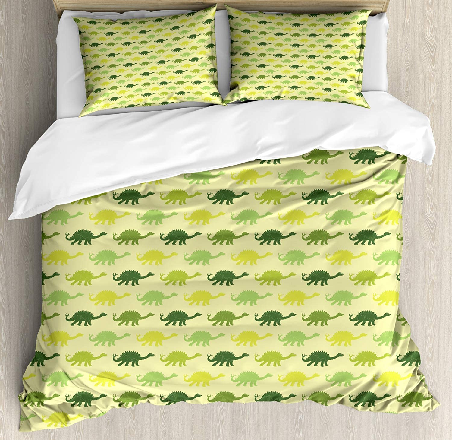 Beauty Decor Dinosaur Duvet Cover Set Repeating Pattern of Dinosaur Stegosaurus in Various Green Shades Kids Nursery 3 Piece Decorative Bedding Sets with 2 Pillow Shams King Size, Multicolor