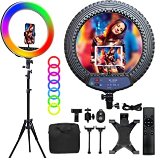 OVEHEL 18 inch RGB Ring Light Kit 3000K-6500K Dimmable LED Ring Lights10 Brightness Level Up to 5000 Lux Circle Light with Stand Phone & Ipad/Camera Holder&Wireless Remote for Live Stream/Makeup/Vlog