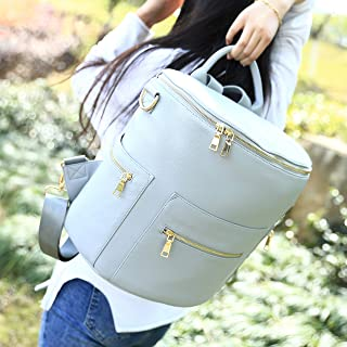 Faux Leather Backpack, Stylish Diaper Bag Design for Mom and Baby by Alice Unique (Gray)