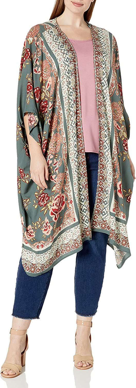 Angie Women's Plus Size Printed Kimono Duster Long Cardigan