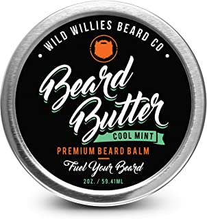 Beard Balm Conditioner For Men -Wild Willie's Beard Butter-Amazing Beard Balm with 13 Natural Locally Sourced Ingredients to Condition and Treat Your Beard or Mustache At the Same Time. Cool Mint 2oz