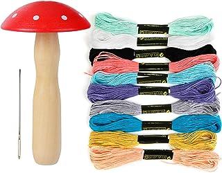 Lnrueg Darning Mushroom Kit Cute Darning Needle Set Professional DIY Sewing Thread Set Darning Tools Kit Darning Supplies ...