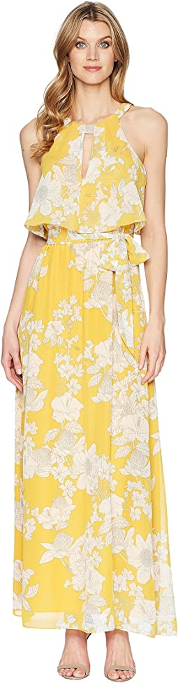 Adrianna Papell Long Floral Print Popover Dress