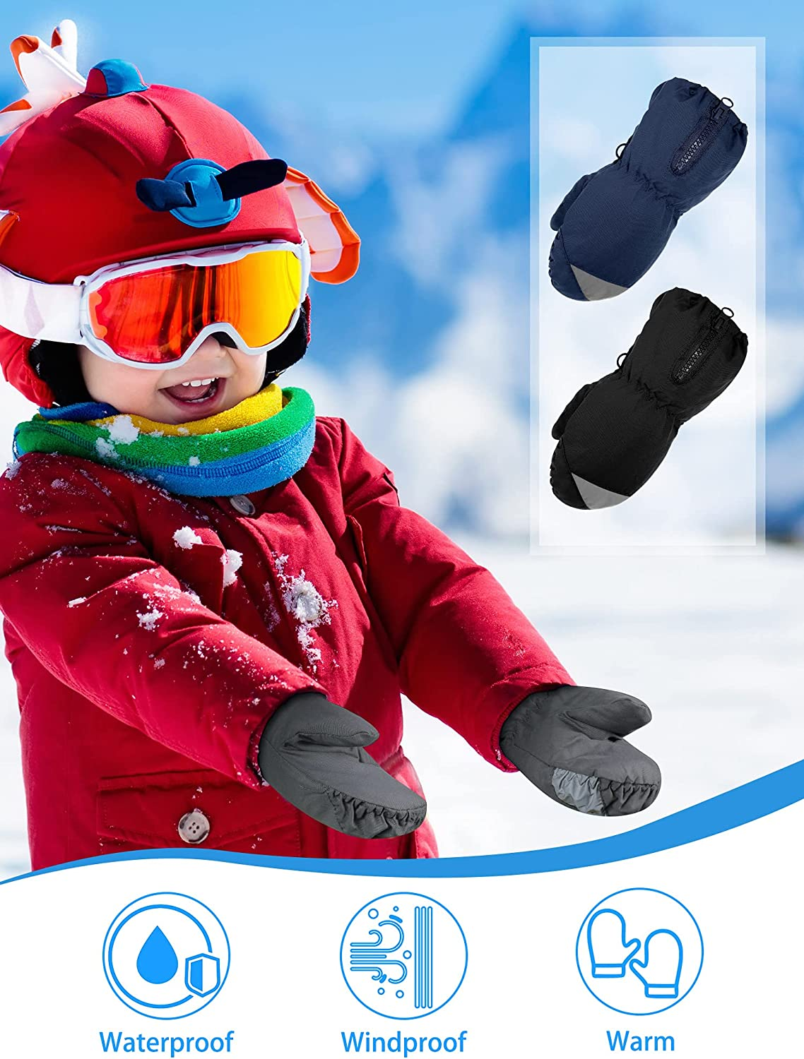 3 Pairs Kids Snow Mittens Waterproof Ski Gloves Winter Warm Mittens Youth Snow Gloves for Boys Girls Outdoor Activities