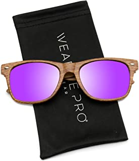 WearMe Pro Adult Faux Wood Reflective Revo Color Lens Horn Rimmed Style Sunglasses