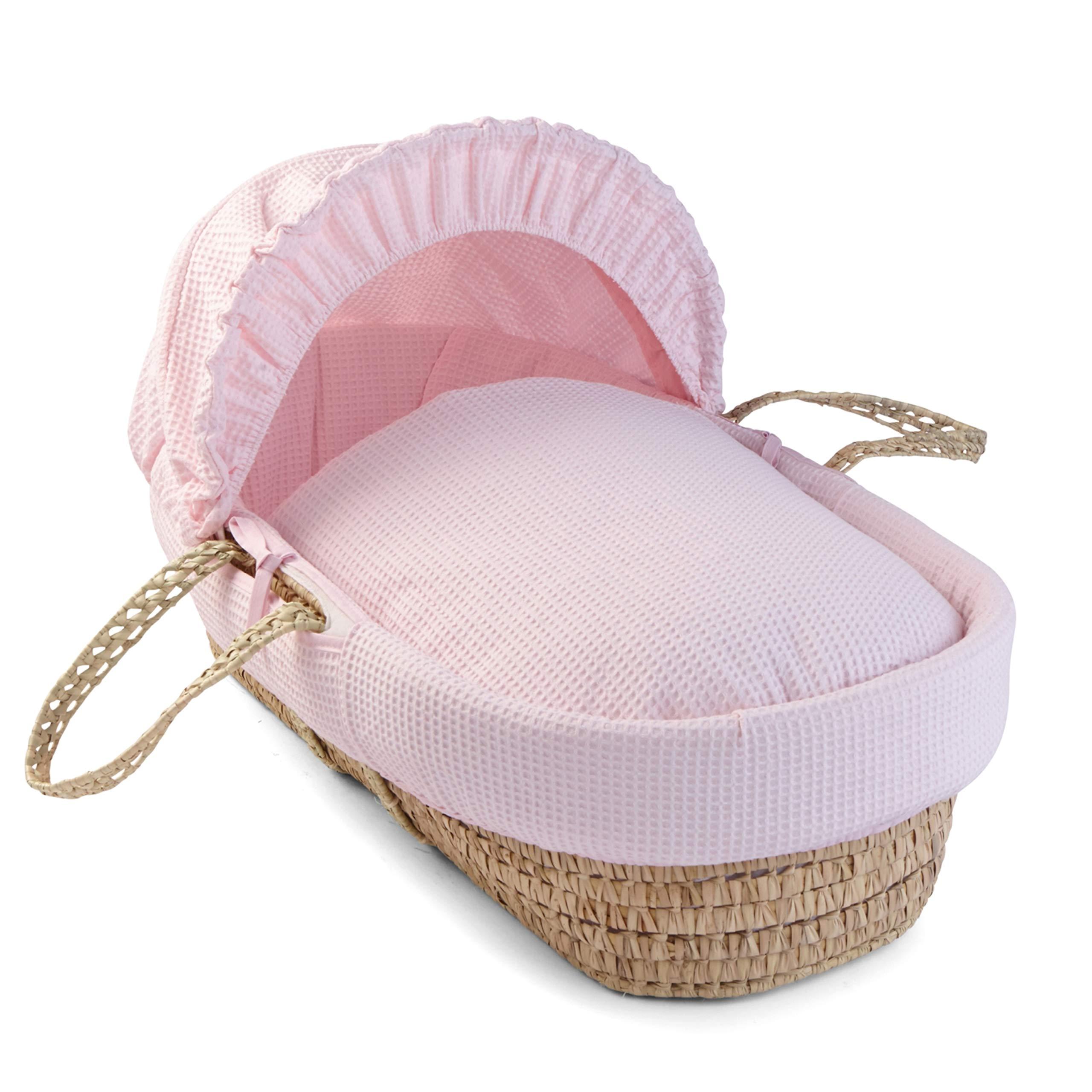 BabyDoll Croco Minky Moses Basket Set Ivory//Grey