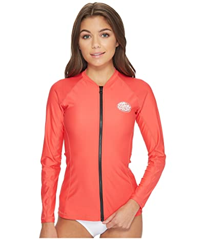 Rip Curl Belle Zip-Through Long Sleeve UV Tee (Red) Women