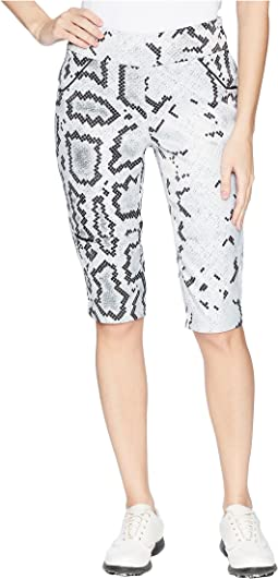 Side Zip Anaconda Print Knee Kapris