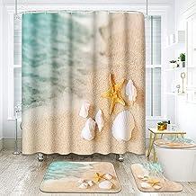 ArtSocket 4 Pcs Shower Curtain Set Starfish Seashore Summer Beach Sand Shell Fish Holiday Ocean Aquatic Beautiful with No...
