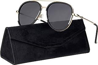نظارات شمسية بتصميم افياتور للرجال والنساء من دبل بريدج ميتال مع جراب