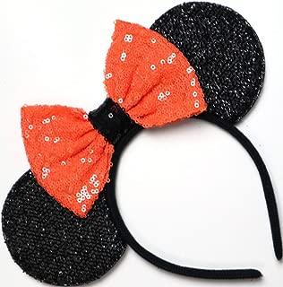 CLGIFT Halloween Orange Mickey Ears, Halloween Orange Minnie Ears, Mickey Ears, Halloween Ears,one size fits all
