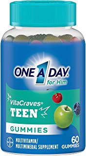 One A Day VitaCraves Teen for Him Multivitamin Gummies, Supplement with Vitamin A, Vitamin C, Vitamin D, Vitamin E and Zin...