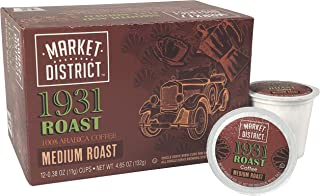 Market District Coffee Pods for Single-Serve Brewing - Signature 1931 Roast, 6 boxes of 12 (72 Count), compatible with most Keurig K-Cup machines