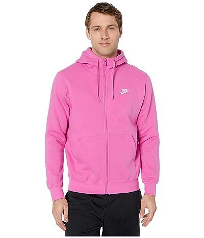 Nike NSW Club Hoodie Full Zip (Active Fuchsia/Cosmic Fuchsia/White) Men