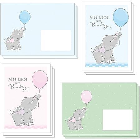 """6 niedliche Glückwunschkarten zur Geburt""""ELLY ELEFANT"""" DIN A6 inklusive 6 Briefumschlägen (3 in rosa und 3 in hellblau) - alles Liebe zum Baby (6 Karten und 6 Umschläge)"""