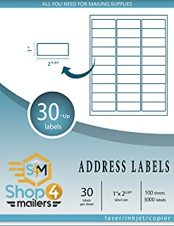 "Shop4Mailers 30-Up White Shipping Labels 1"" x 2 5/8"" ~ 1000 Sheets, 30000 Labels"