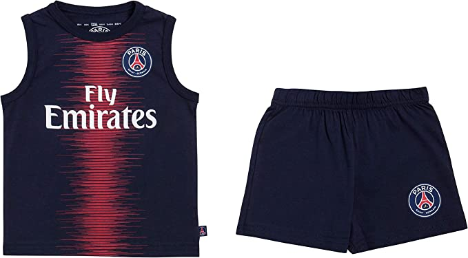 Paris Saint Germain - Completo canotta da bambino PSG, maglia Fly Emirates, collezione ufficiale