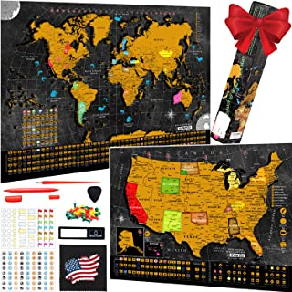 Scratch Off World Map Poster - Bonus United States Map with Detailed Outlined States, Flags, Capitals, Populations, Landma...