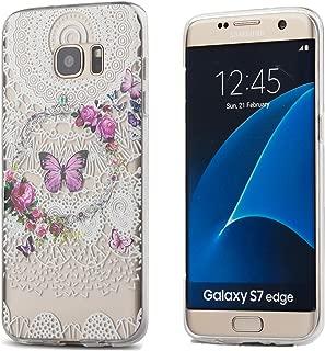 Galaxy S7 Edge Case,3Cworld Ultra Thin Clear Art Pattern Crystal Gel TPU Rubber Flexible Slim Skin Soft Case for Samsung Galaxy S7 Edge (Flower Butterfly - White)