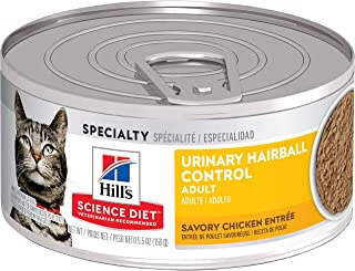 Hill's Science Diet Adult Urinary & Hairball Control Canned Cat Food, Savory Chicken Entrée, 5.5 oz, 24 Pack wet cat food