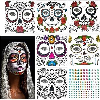 Tatuaje facial temporal, 4 Kits Tatuajes Sugar Skull Stickers Day ...