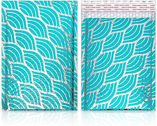 Lot de 25 20x27cm Vague Vert Sarcelle Enveloppes matelassées Enveloppes à Bulles Poly Sacs de transport pour l'envoi ...