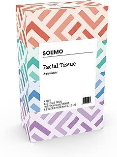Amazon Brand - Solimo Facial Tissues, 160 Tissues per Box (4 Flat Boxes)