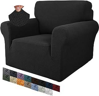 MAXIJIN - Funda para silla de estar con diseño de jacquard, superelástica, antideslizante, con brazos, perros, mascotas, 1 pieza, elástica, protector de sofá (1 plaza, negro)