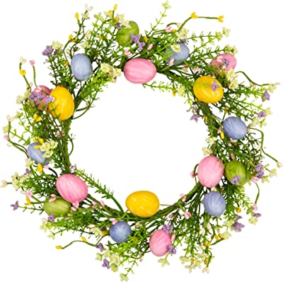 VGIA 12 inch Artificial Easter Wreath with Colored Egg and Mixed Twigs Spring Wreath for Front Door with Easter Decorations