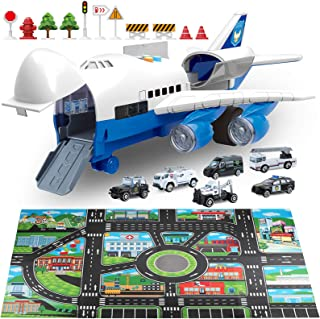 Car Toys Set with Transport Cargo Airplane and Large Play Mat, Mini Educational Vehicle Police Car Set for Kids Toddlers Boys Child Gift for 2 3 4 5 6 Years Old, 6 Cars, Large Plane, 11 Road Signs