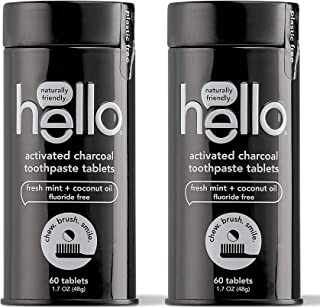 Hello Oral Care Activated Charcoal Fluoride Free Toothpaste Tablets, 60 Tablets (2 Count)