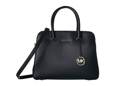 MICHAEL Michael Kors Houston Medium Double Zip Satchel (Black) Satchel Handbags