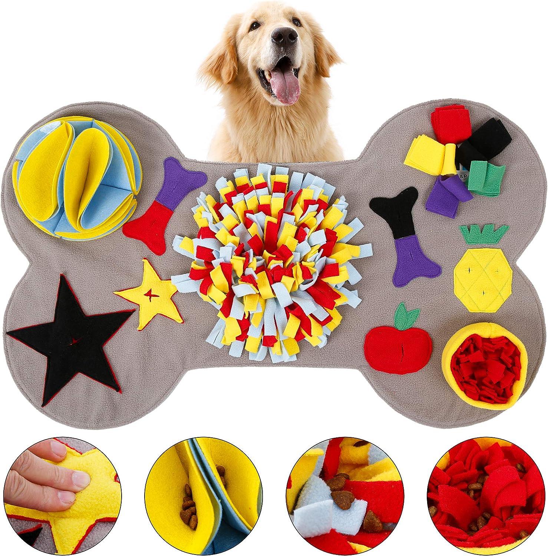 L&P Alfombra para perros con forma de hueso, juguete interactivo, lavable, para el aprendizaje, para entrenar en casa, juego de búsqueda, antideslizante, 90 x 55 cm