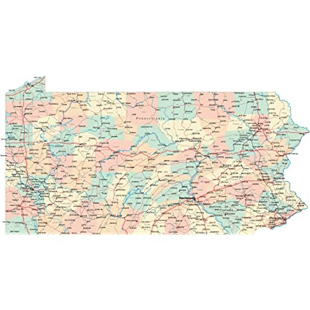 Pennsylvania State Road Map City County Pa Vivid Imagery Laminated Poster Print-20 Inch by 30 Inch Laminated Poster With Bright Colors And Vivid Imagery