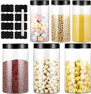 4.5L Bocaux en Plastique 6 Pcs, Bocal de Stockage, Bocal Plastique Transparent Pots de Stockage Récipient de Stockage de G...