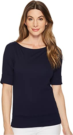 LAUREN Ralph Lauren - Stretch Cotton Boat Neck Tee