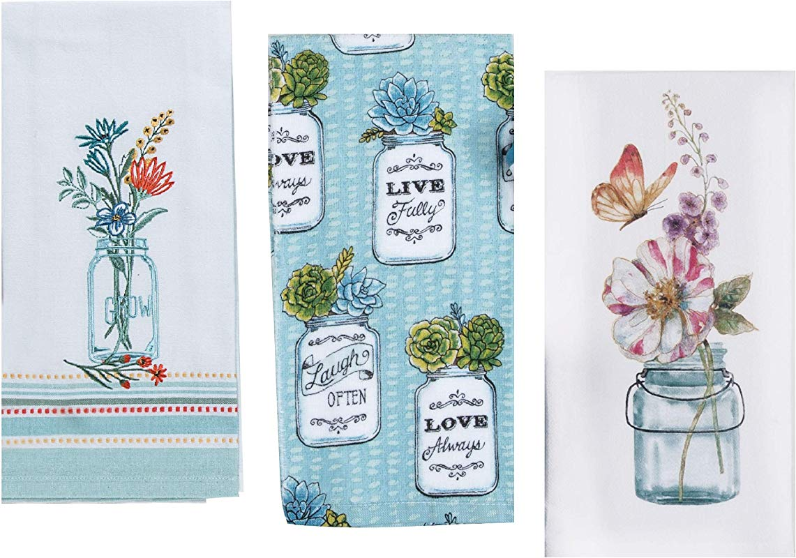 3 Mason Jar Themed Decorative Cotton Kitchen Towels Set With Blue Green And Teal Print 1 Flour Sack 1 Terry And 1 Embroidered Tea Towel For Dish And Hand Drying By Kay Dee Designs