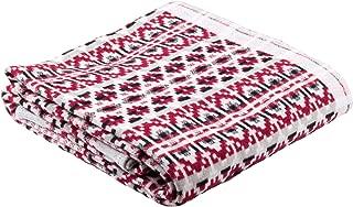 100% Brushed Organic Cotton Swedish Dala Horse Rrint Designer Blanket by Ojbro Vantfabrik (Dalarna)