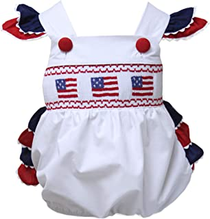 Carouselwear Baby Girls Patriotic Bubble Romper with USA Flag 4th of July New Born Size