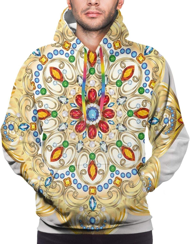 Men's Hoodies Sweatshirts,Broccoli Kale Mother Earth Herbs Themed Fractal Background Foliage Modern Design