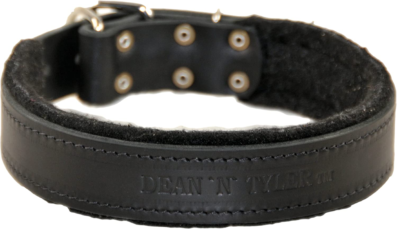 Dean and Tyler DT DELIGHT , Dog Collar with Felt Padding and Strong Hardware  Black  Size 36Inch by 11 2Inch  Fits Neck 34Inch to 38Inch