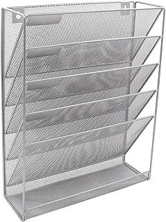 comprar comparacion EasyPAG - Revistero de malla para colgar en la pared, 6 niveles., color plata